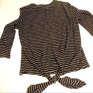 Nordstrom Tops - Code x mode stretchy striped 3/4 sleeve tie back